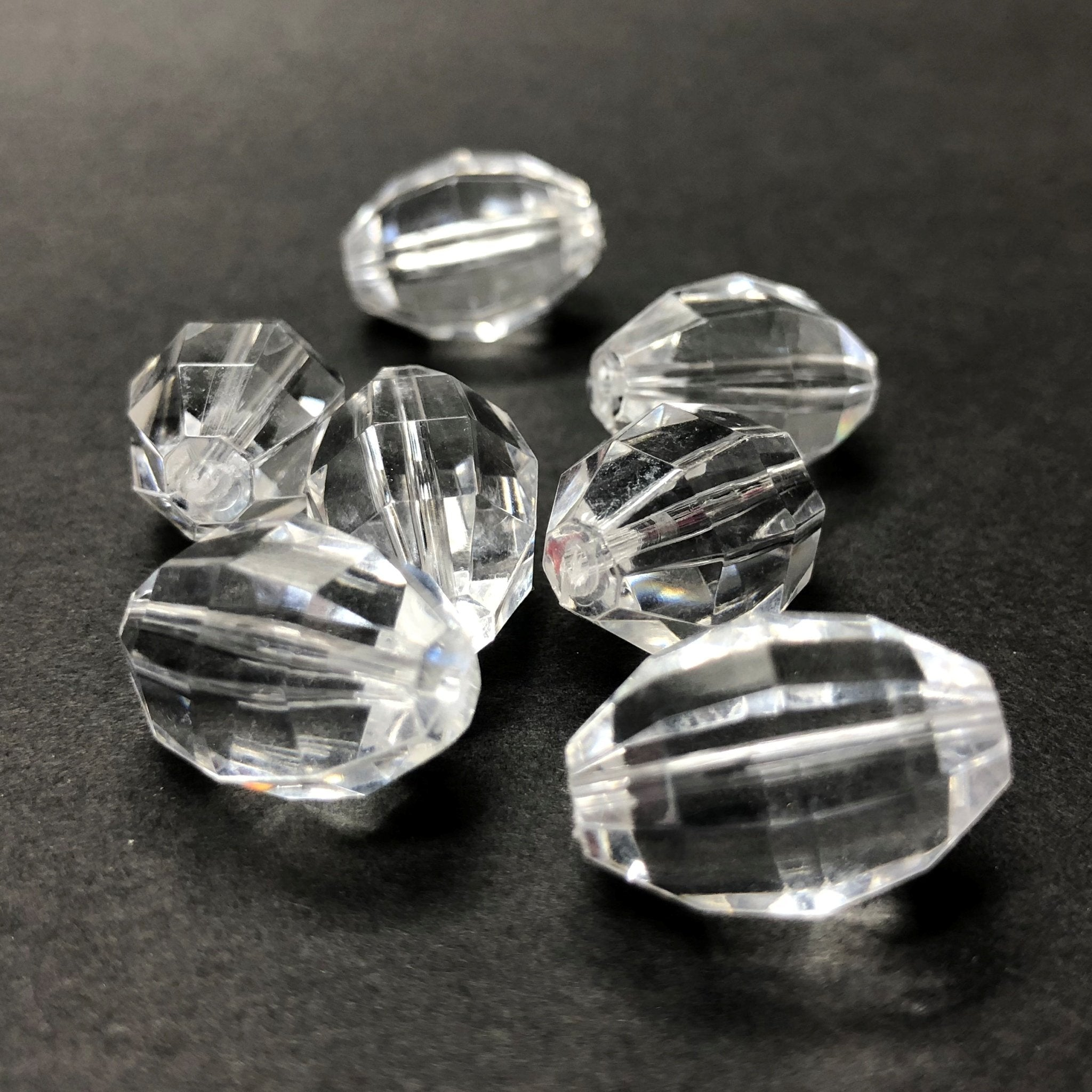 18X12MM Crystal Faceted Oval Acrylic Bead (36 pieces)