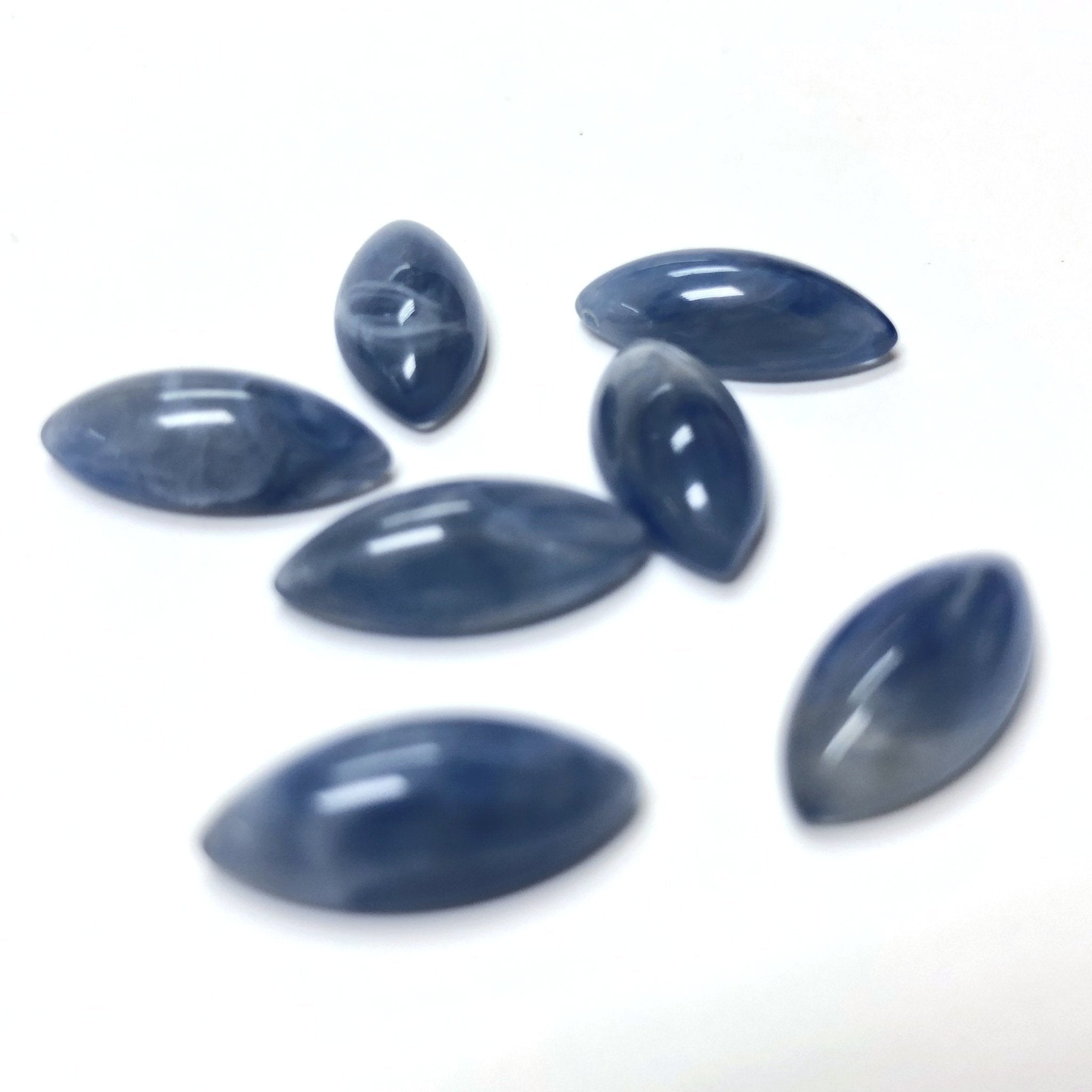 "15X7MM Blue ""Agate"" Navette Acrylic Cab (72 pieces)"