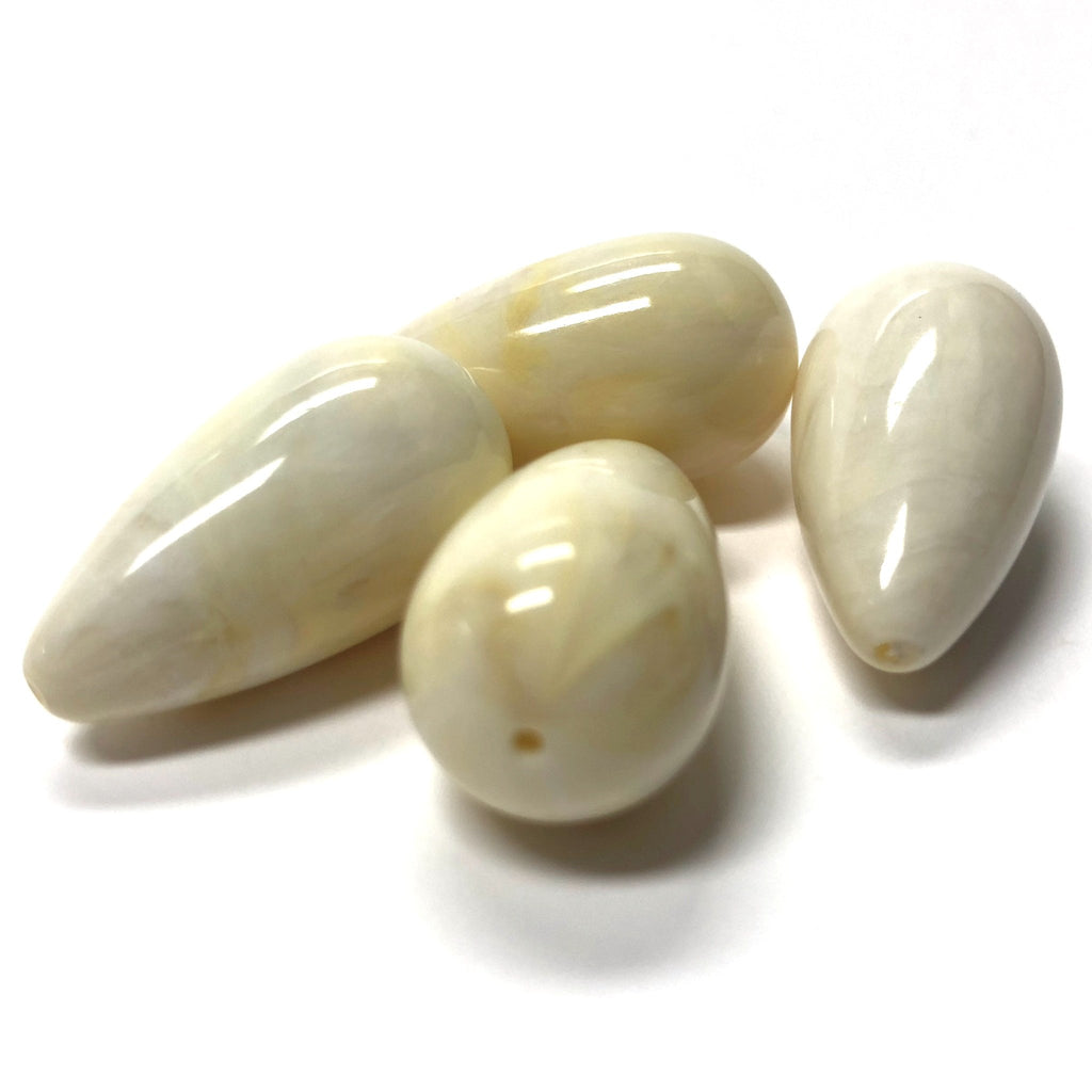 "14X26MM ""Ivorine"" Pear Acrylic Beads (24 pieces)"