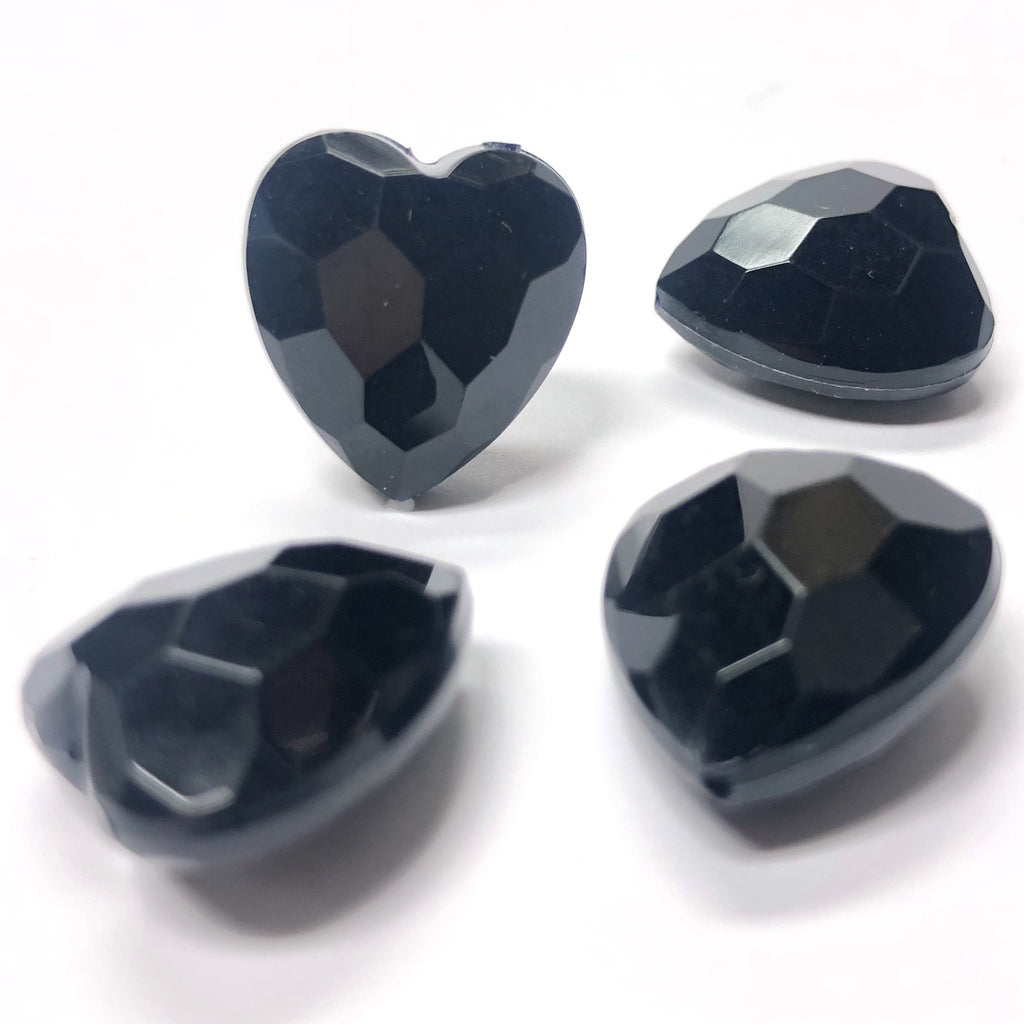 15MM Black Faceted Heart Acrylic Bead (36 pieces)