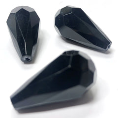 10X18MM Black Faceted Pear Acrylic Bead (36 pieces)