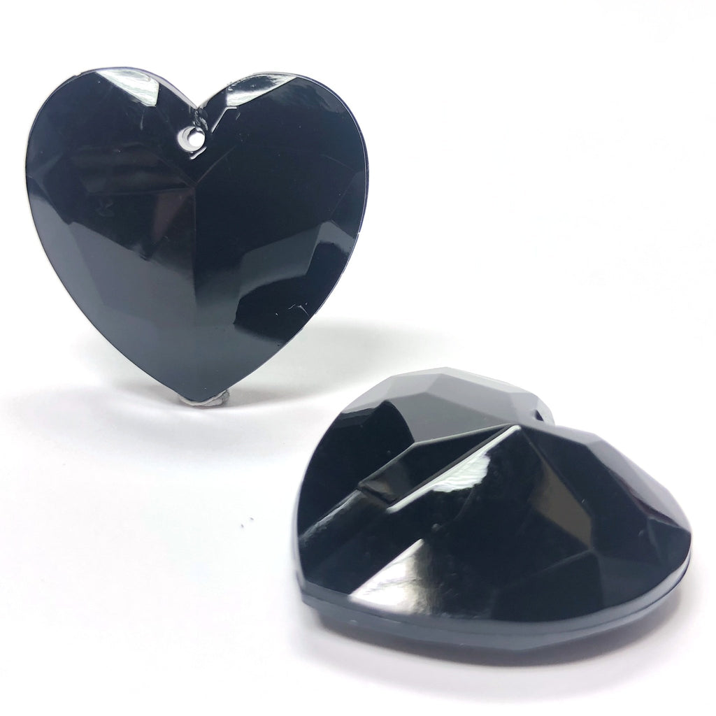 27MM Black Acrylic Faceted Heart Drop (12 pieces)