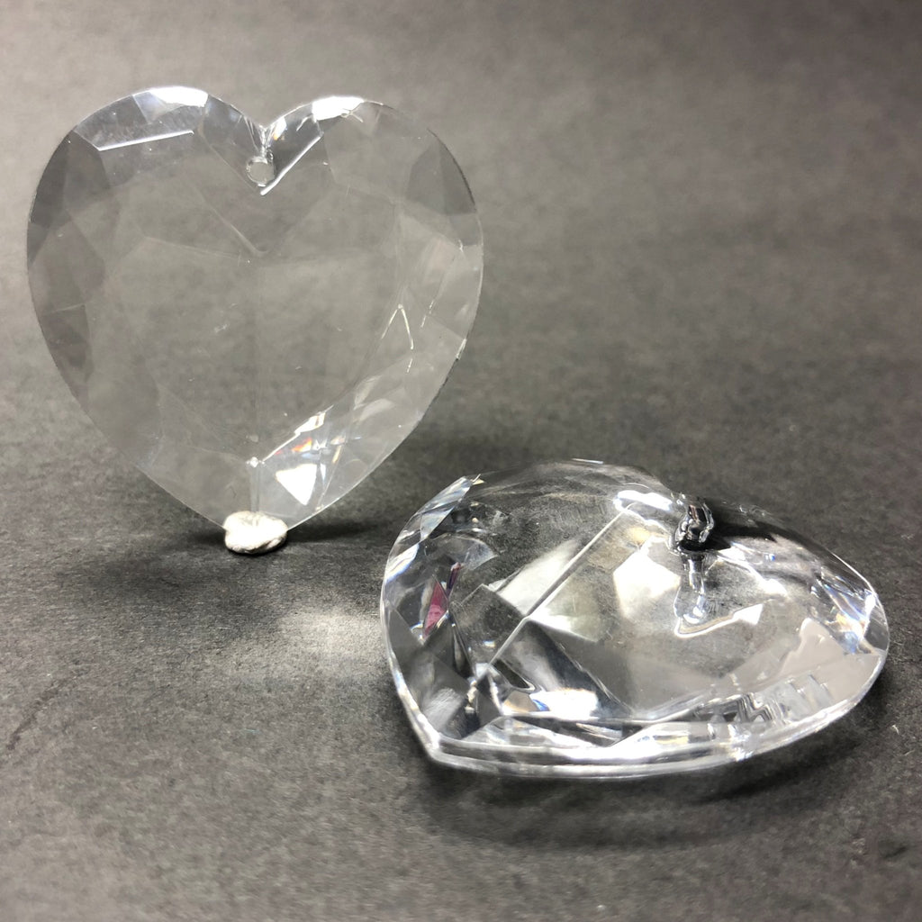 35MM Crystal Acrylic Faceted Heart Drop (6 pieces)