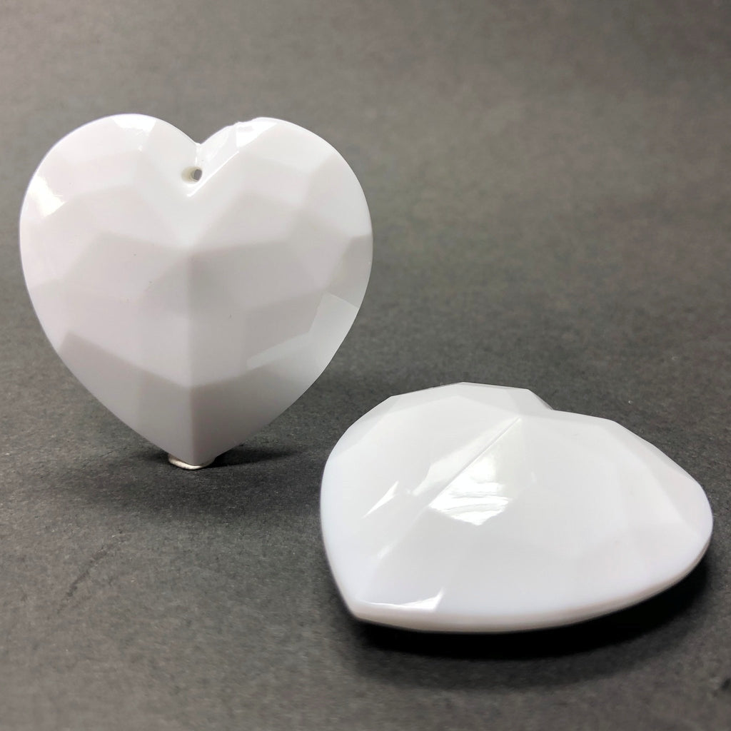 35MM White Acrylic Faceted Heart Drop (6 pieces)