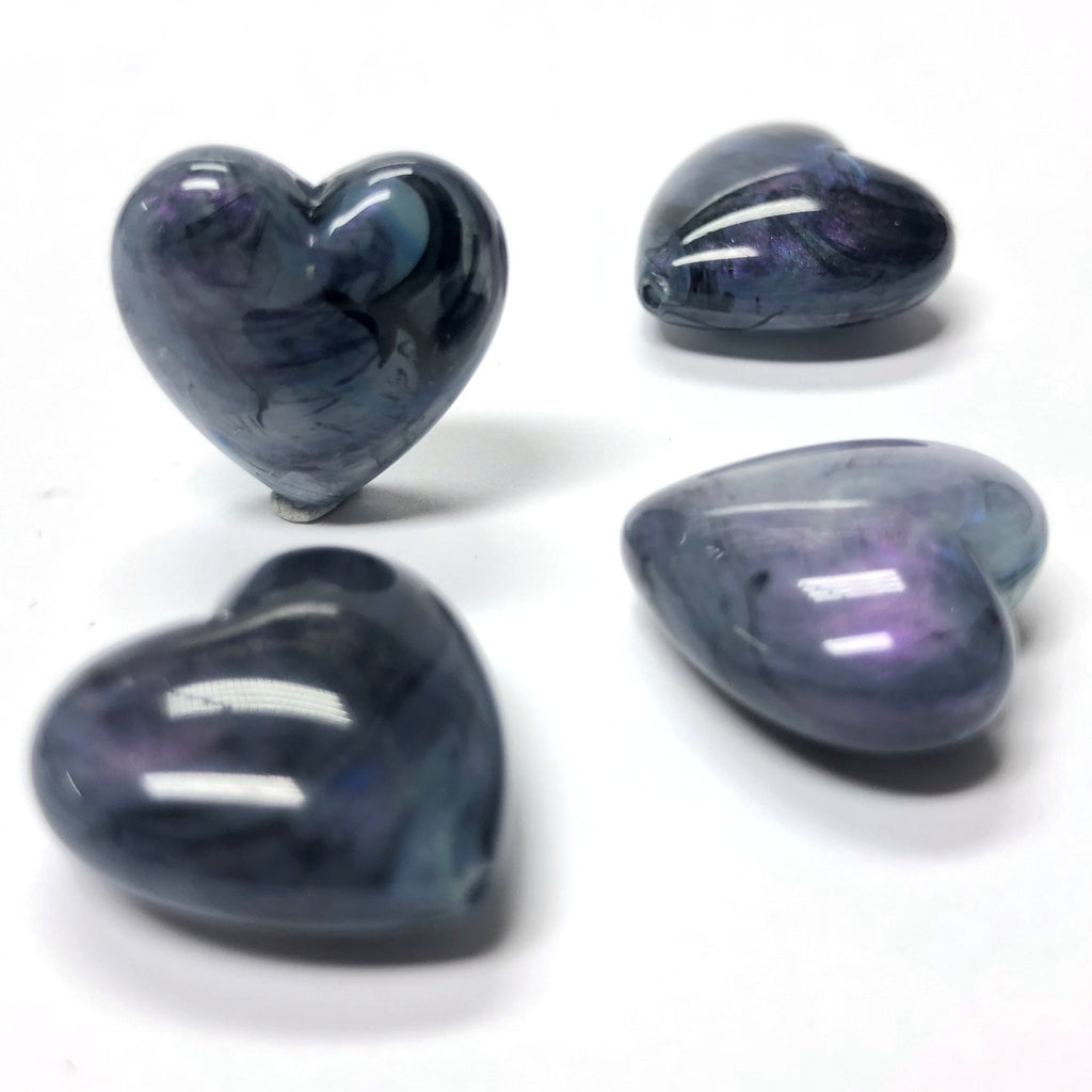 "18MM Blue ""Shell"" Heart Acrylic Bead (36 pieces)"