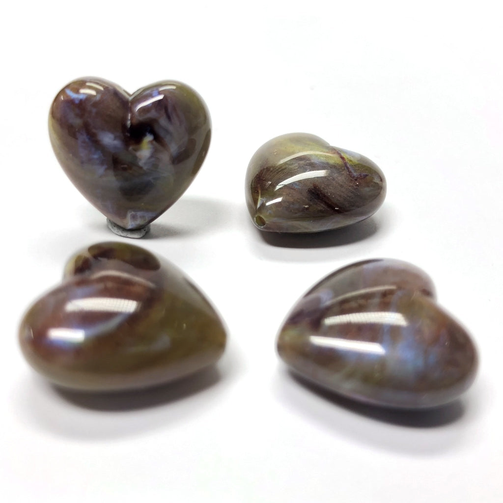 "18MM Brown ""Shell"" Heart Acrylic Bead (36 pieces)"