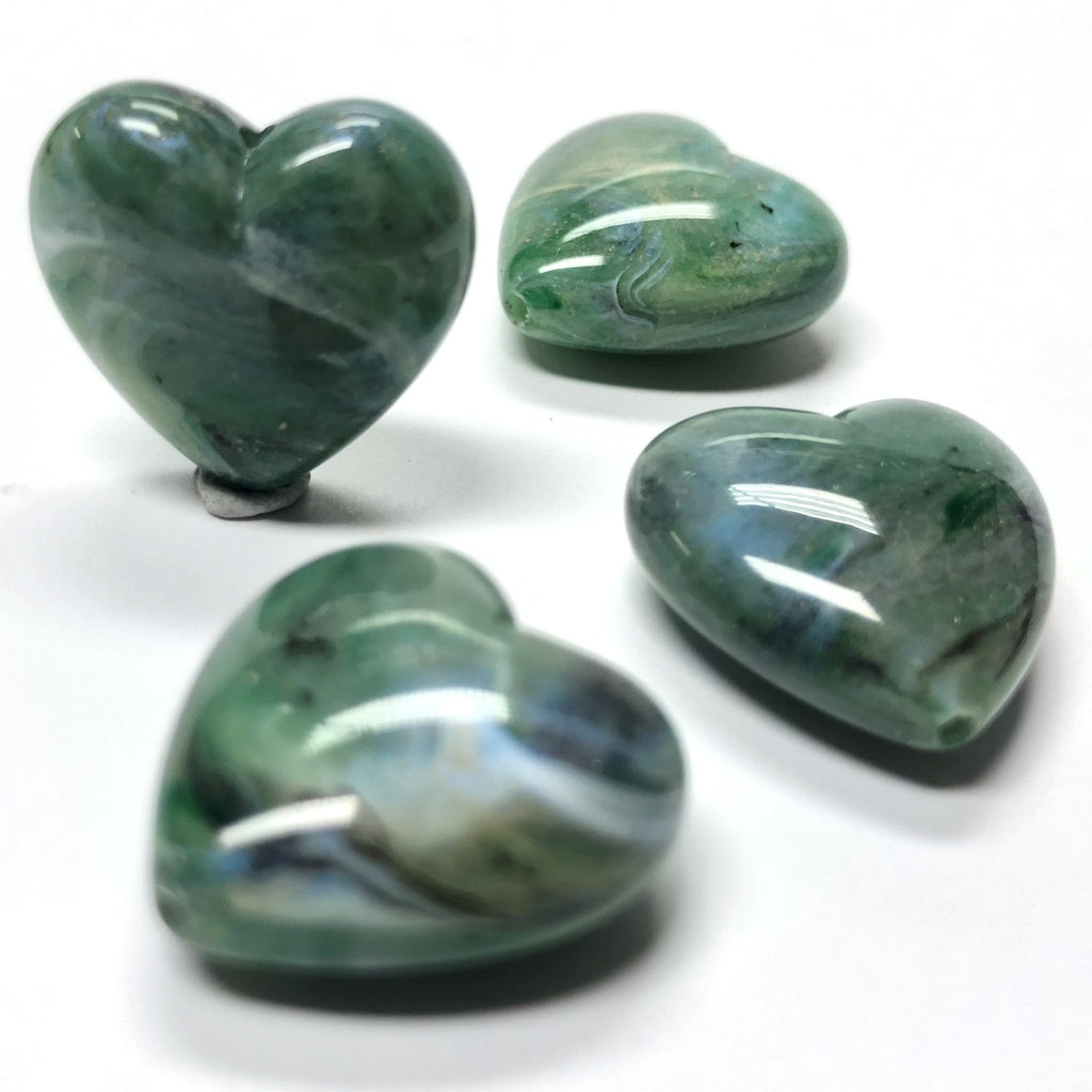 "18MM Green ""Shell"" Heart Acrylic Bead (36 pieces)"