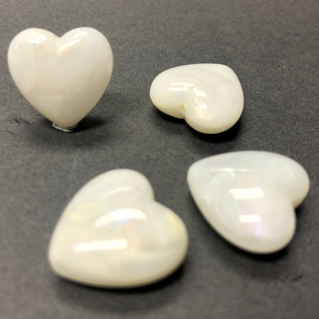 "18MM Ivory ""Shell"" Heart Acrylic Bead (36 pieces)"