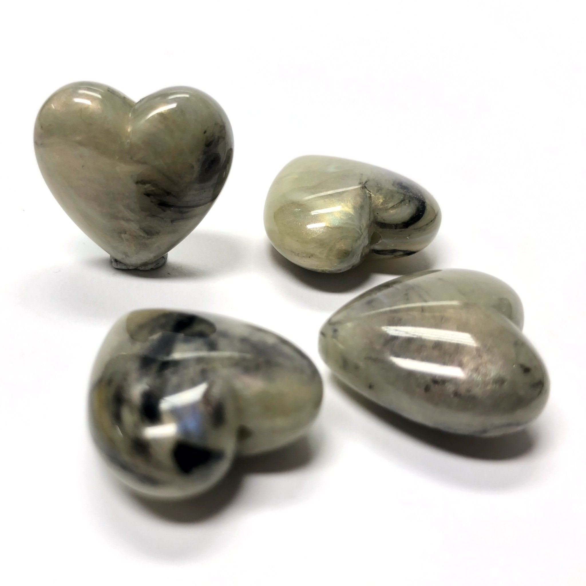 "18MM Khaki ""Shell"" Heart Acrylic Bead (36 pieces)"