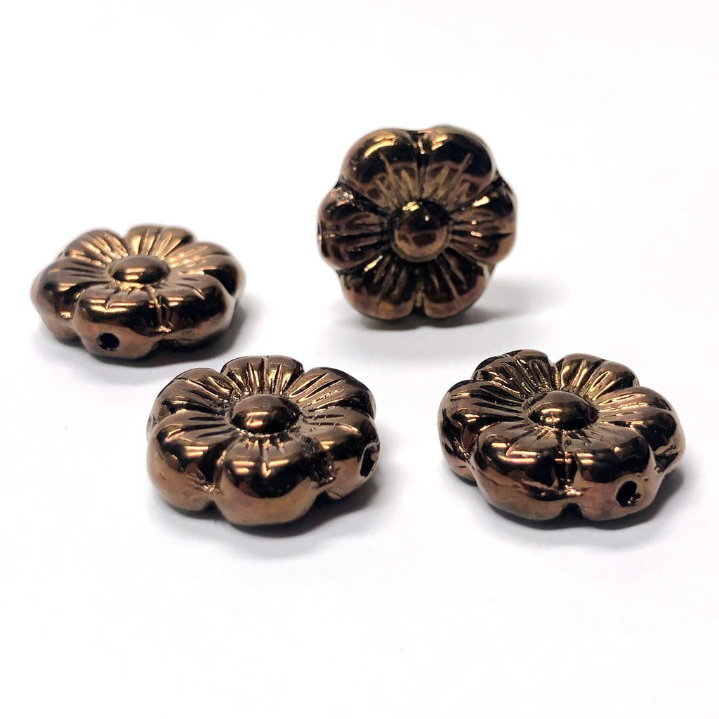 14MM Bronze Glass Flower Bead (24 pieces)