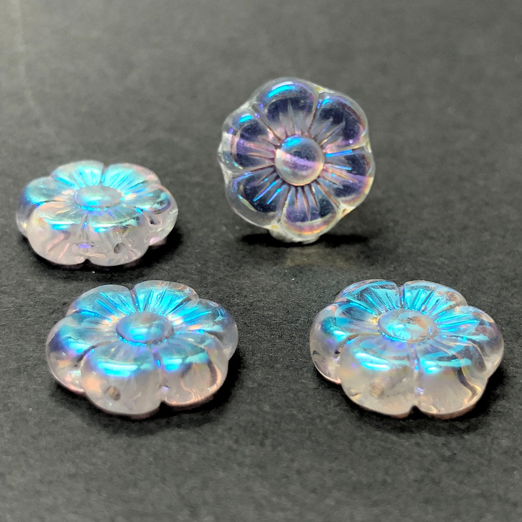 14MM Crystal Ab Glass Flower Bead (36 pieces)