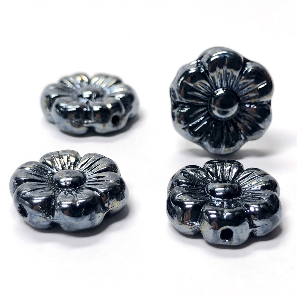14MM Gunmetal Glass Flower Bead (36 pieces)