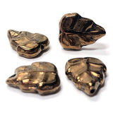 16X12MM Bronze Glass Leaf Bead (36 pieces)