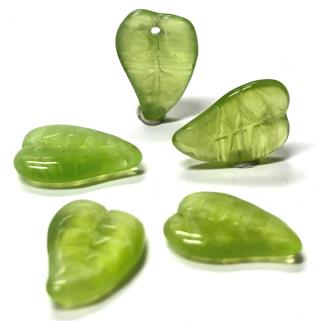 12X8MM Green Glass Leaf Drop (72 pieces)