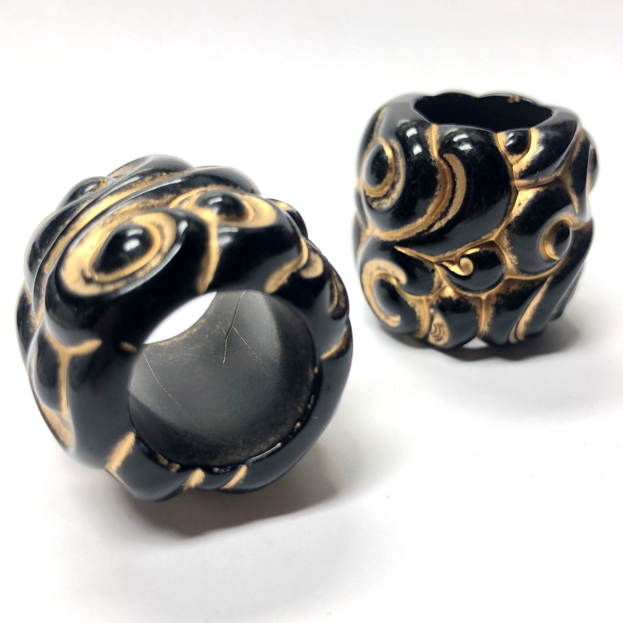 27MM Black-Gold Fancy Large Hole Acrylic Bead (12 pieces)