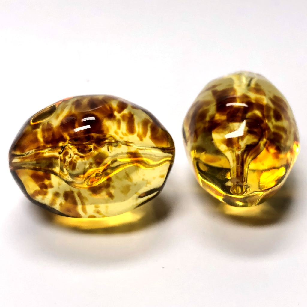 "35X26MM ""Amber"" Baroque Oval Acrylic Beads (6 pieces)"