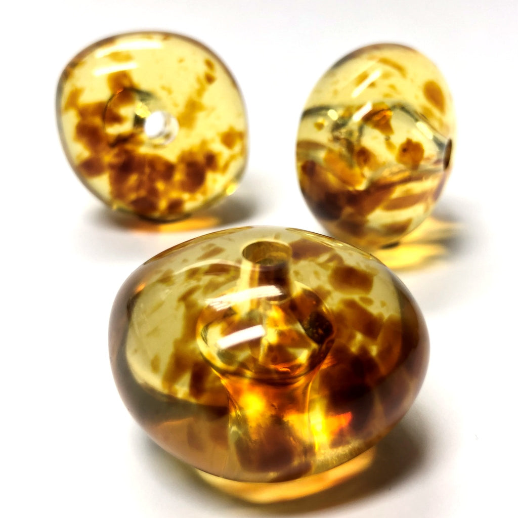 "24X16MM ""Amber"" Baroque Rondel Acrylic Beads (24 pieces)"