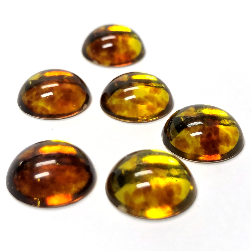 "9MM ""Amber"" Gold Foiled Acrylic Cab (36 pieces)"