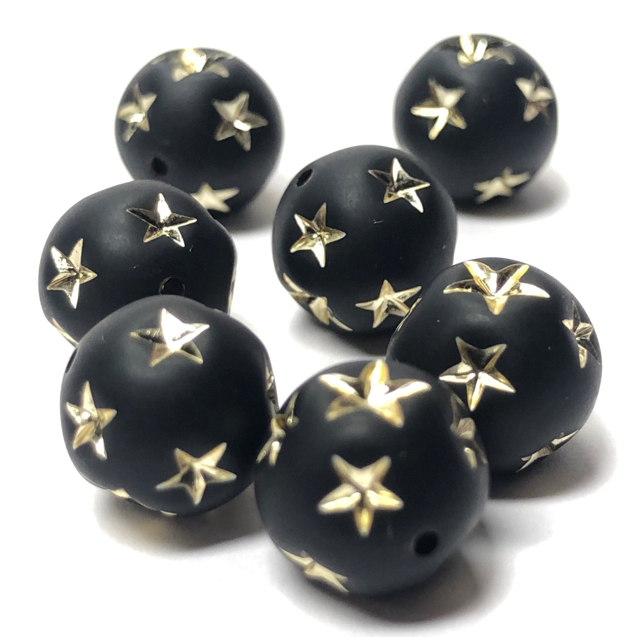 8MM Black Mat-Gold Star Acrylic Bead (36 pieces)