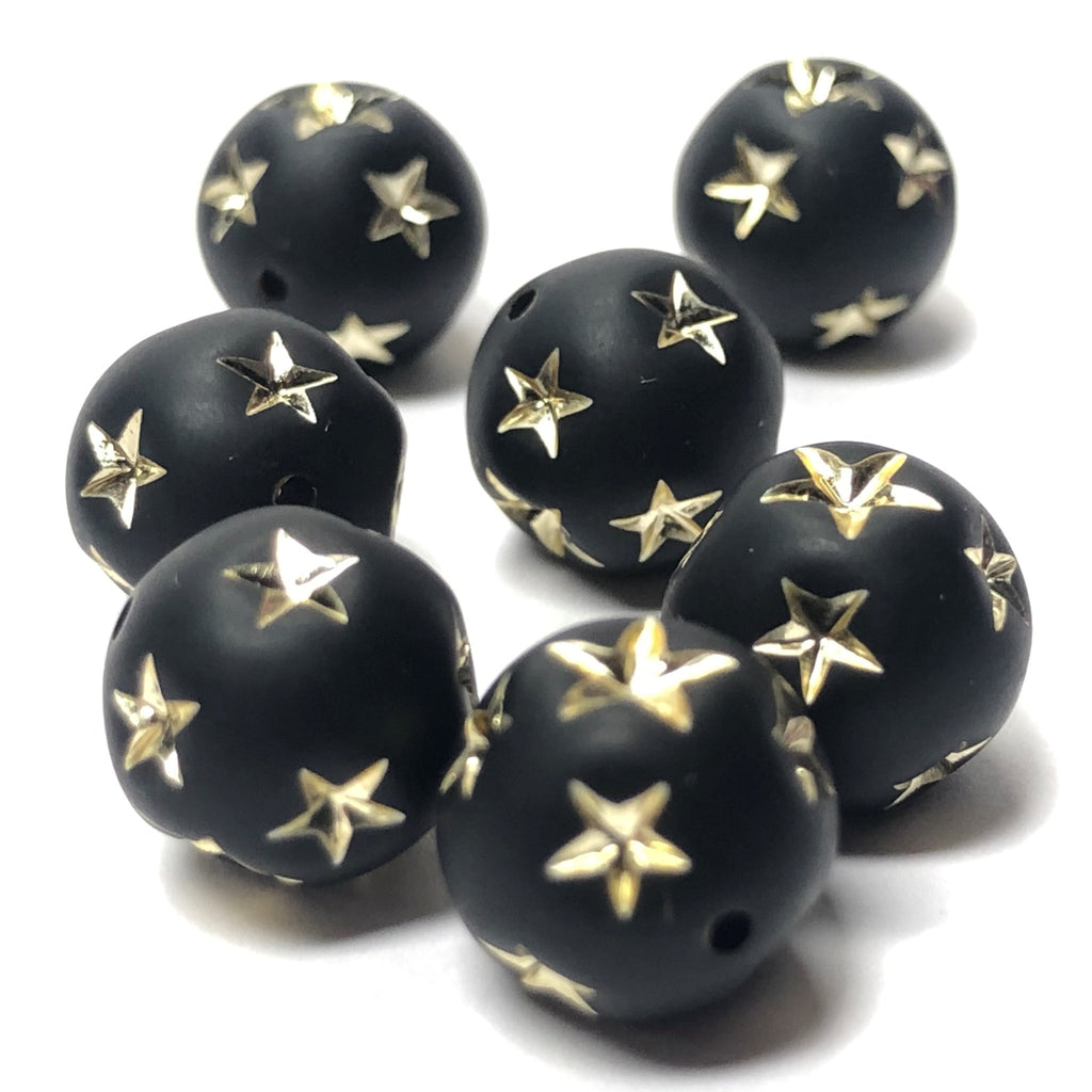 10MM Black Mat-Gold Star Acrylic Bead (36 pieces)
