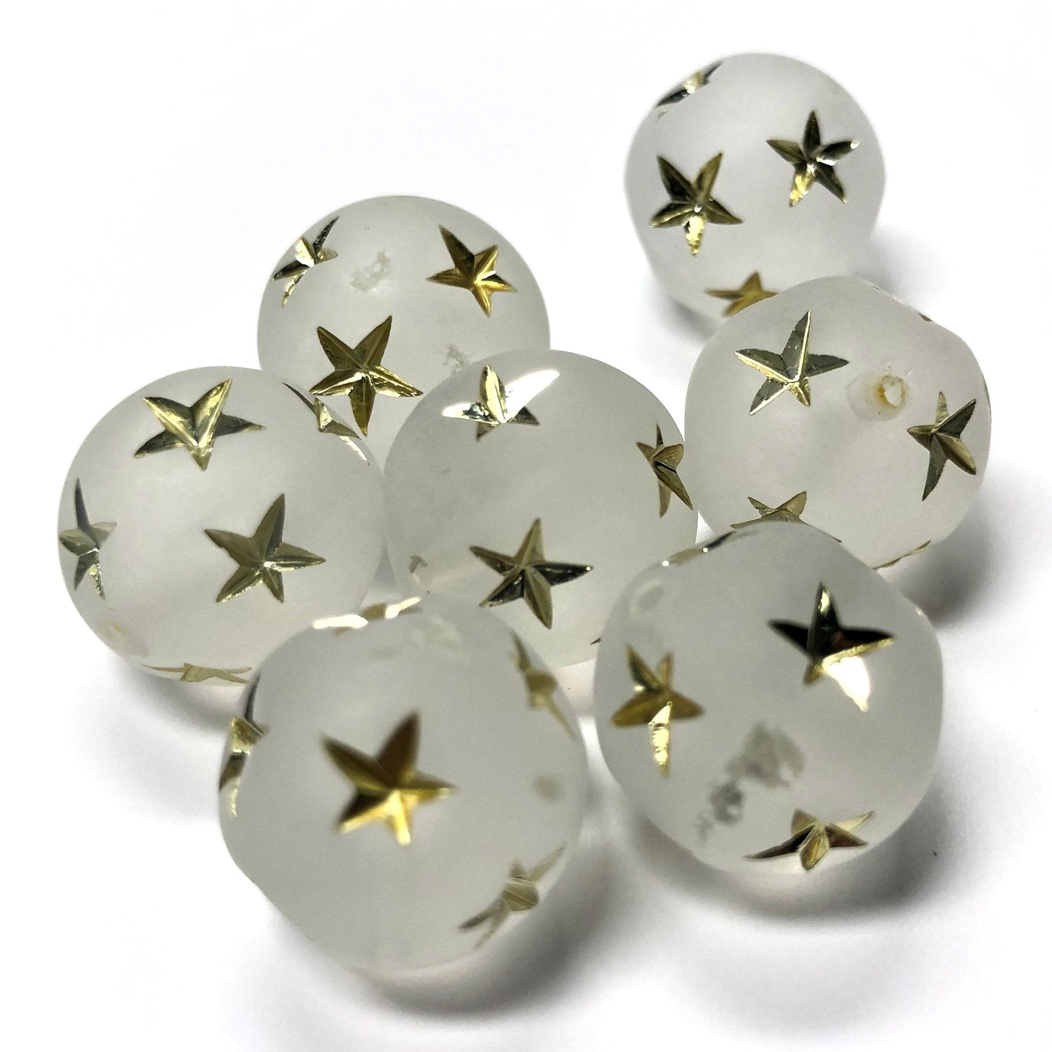 14MM Crystal Mat-Gold Star Acrylic Bead (24 pieces)