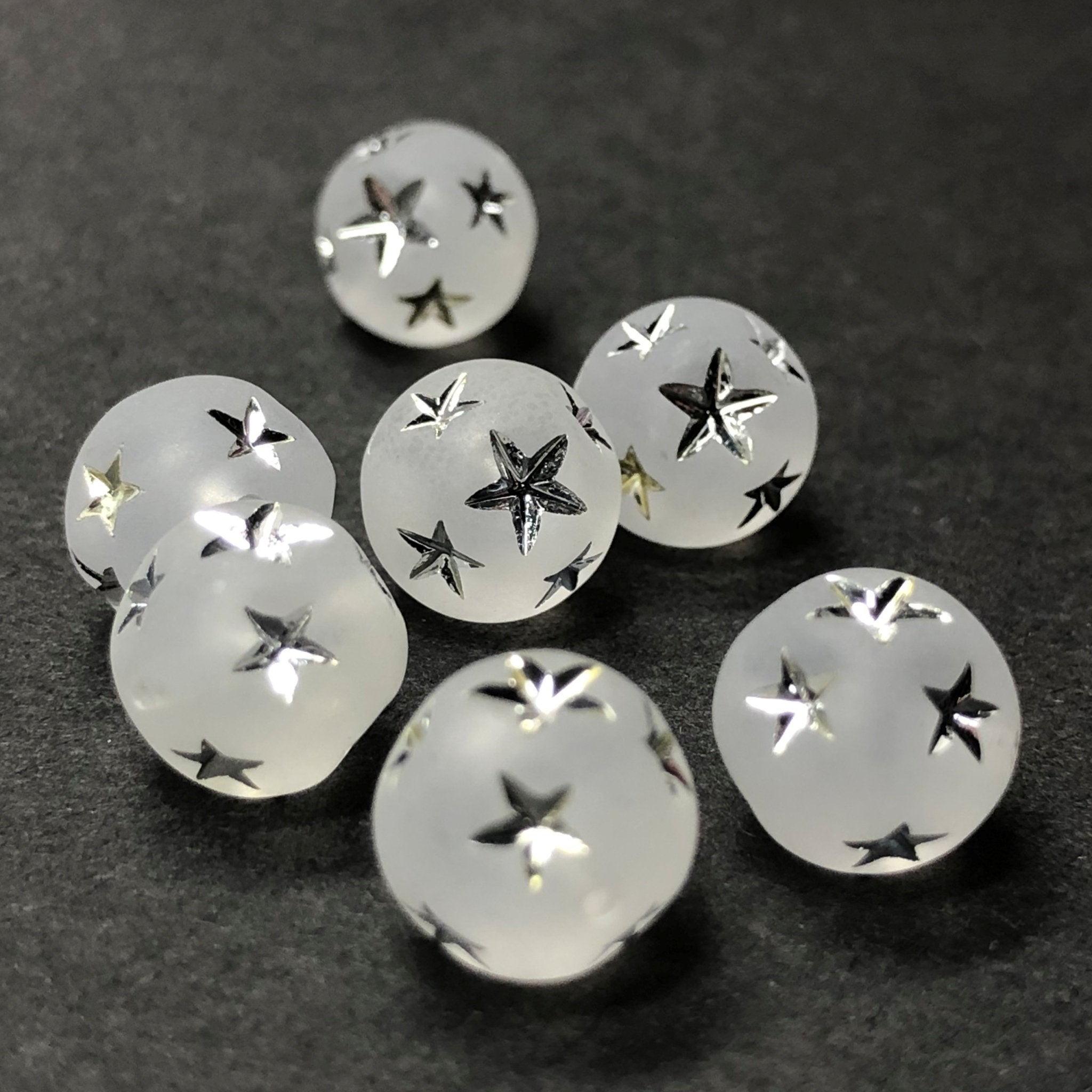 10MM Crystal Mat-Silver Star Acrylic Bead (36 pieces)