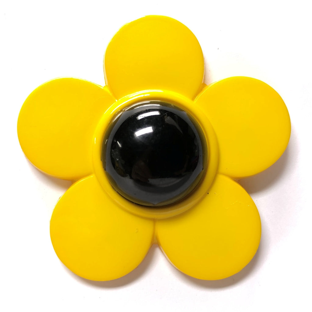 53MM Yellow-Black Daisy Acrylic Cab (12 pieces)