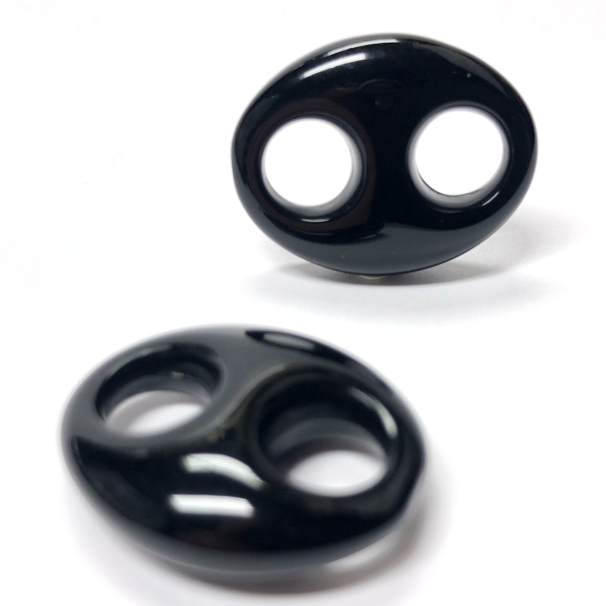 24X19MM Black 2-Hole Link Acrylic Bead (24 pieces)