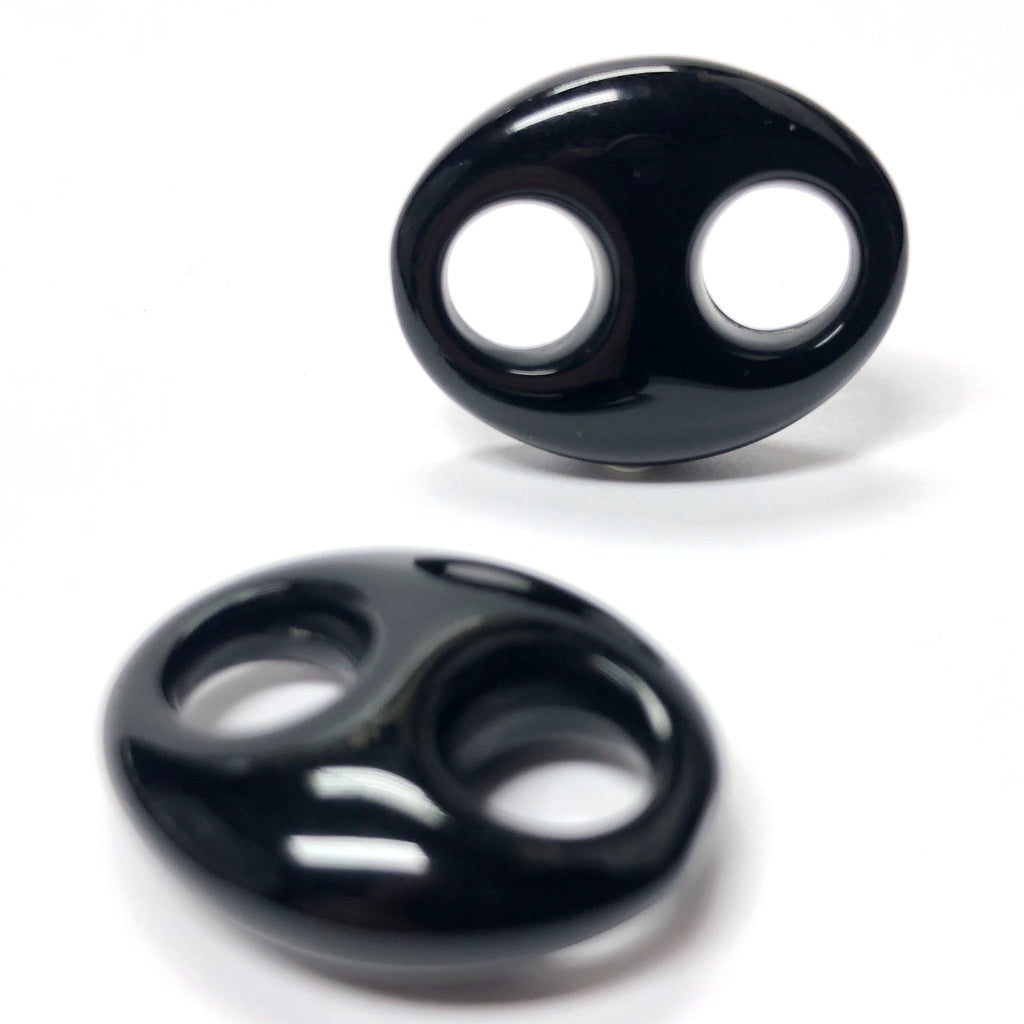 34X27MM Black 2-Hole Link Acrylic Bead (12 pieces)