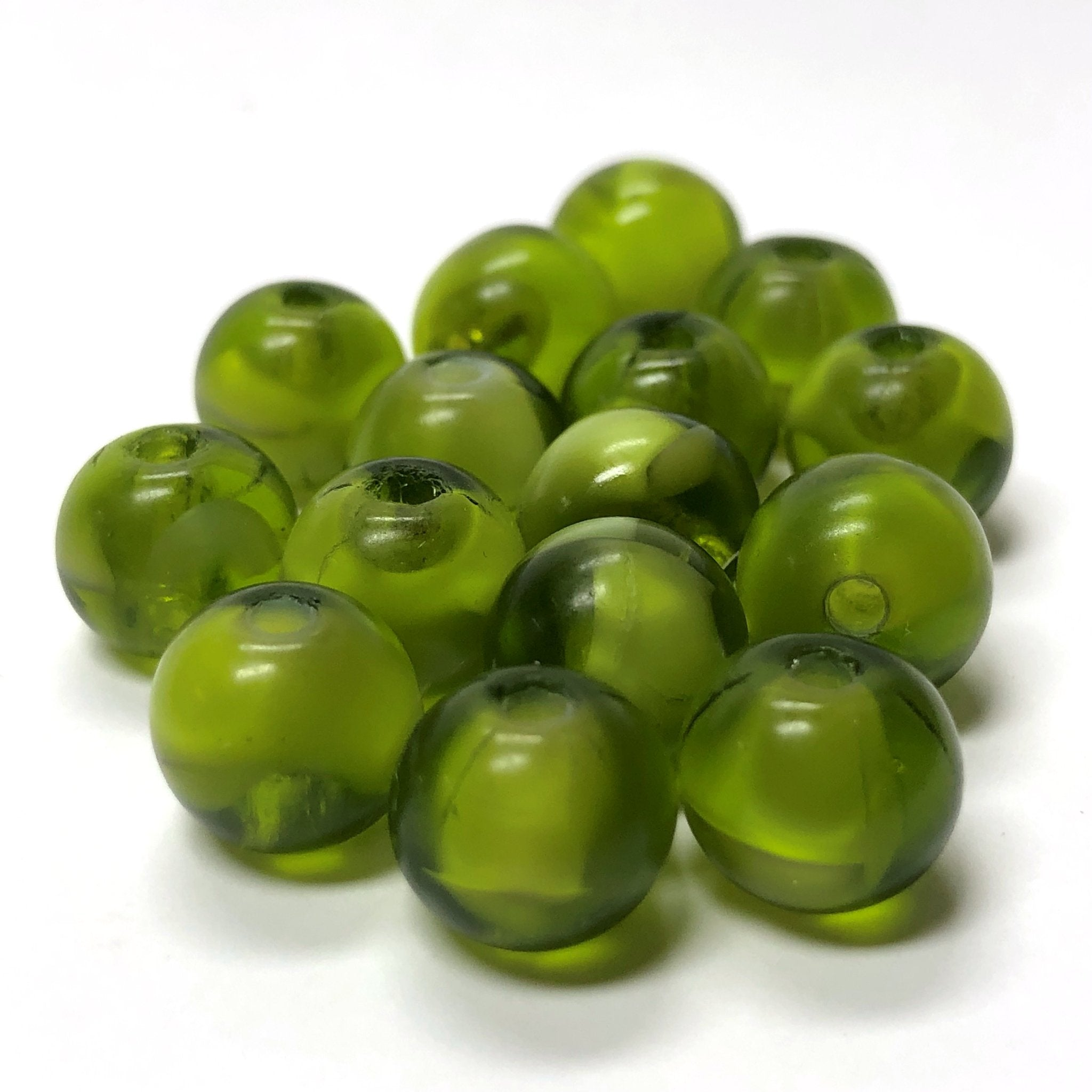10MM Olive Green Givre Glass Bead (36 pieces)