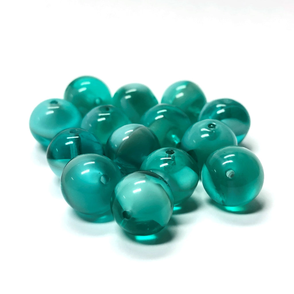 10MM Teal Blue-Green Givre Glass Bead (36 pieces)