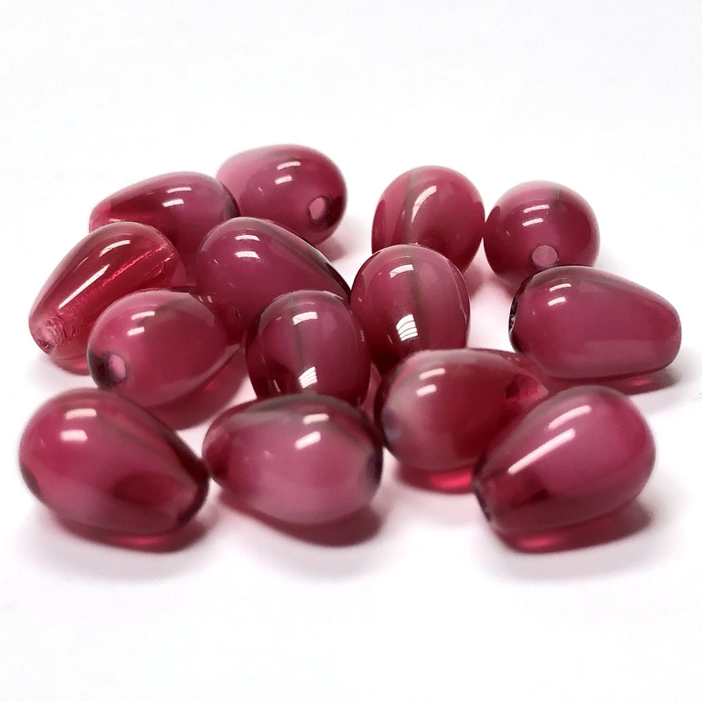 6X9MM Ruby Red Givre Glass Pear Bead (72 pieces)