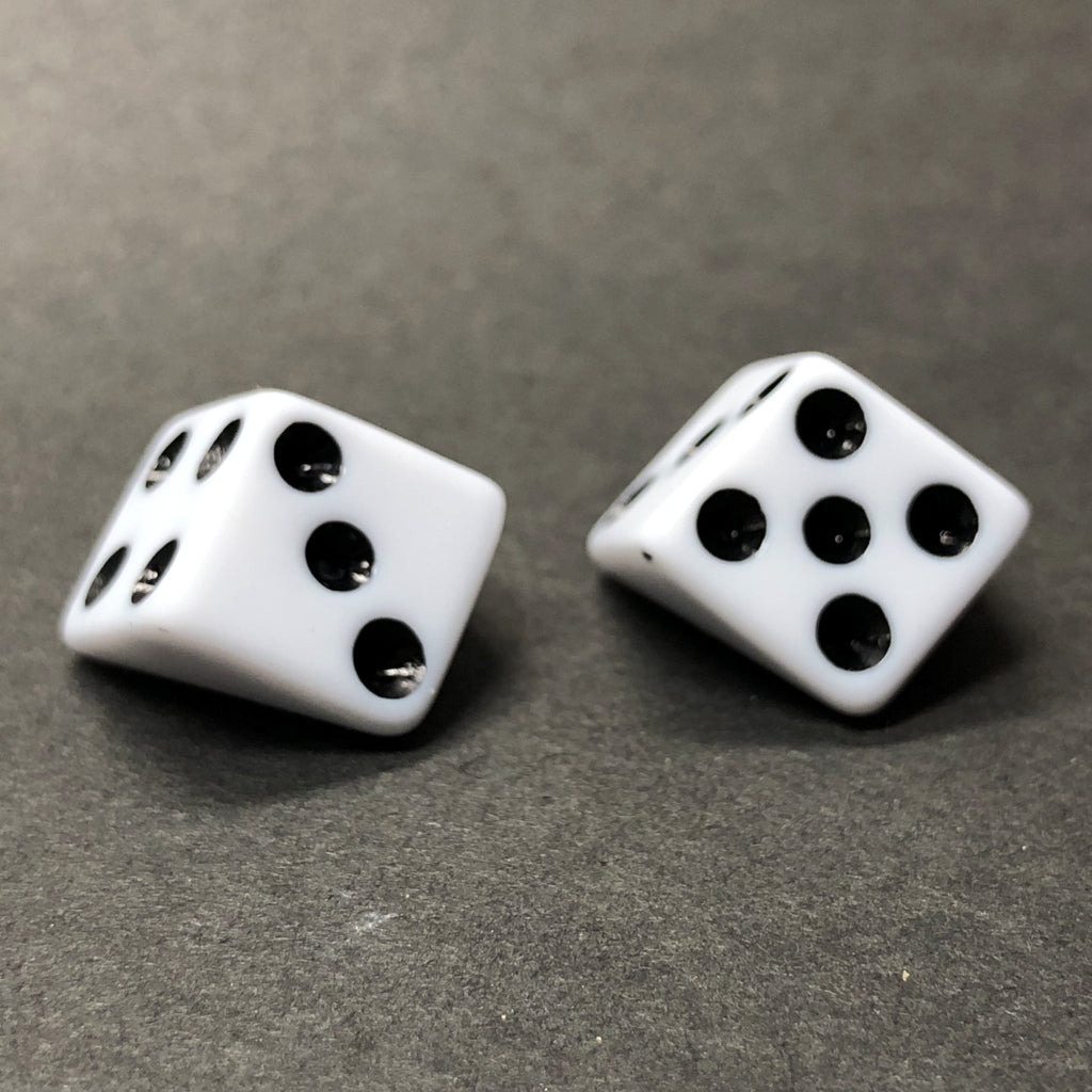 20MM White With Black Dots Dice Acrylic Cab (36 pieces)