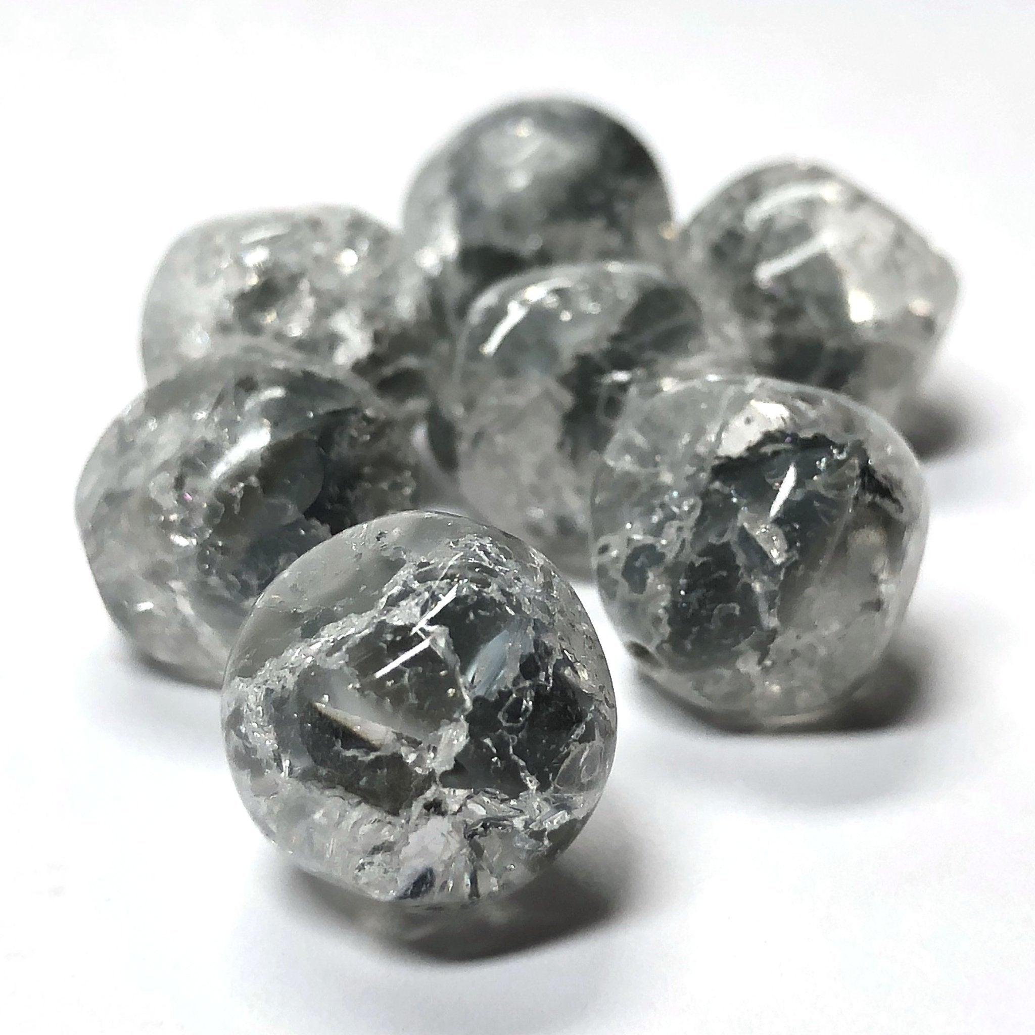 14MM Grey Crackle Glass Nugget Bead (12 pieces)