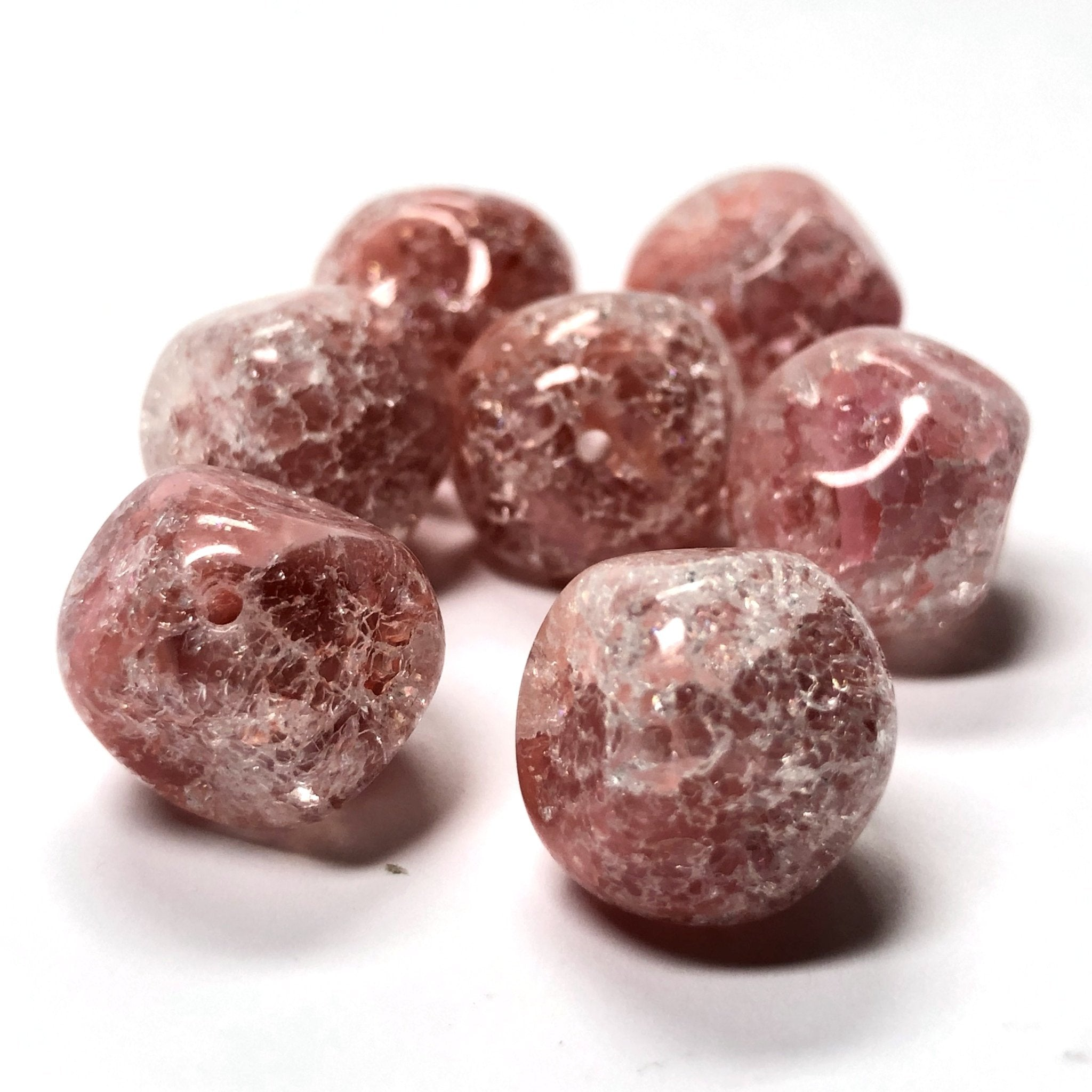 14MM Rose Crackle Glass Nugget Bead (12 pieces)