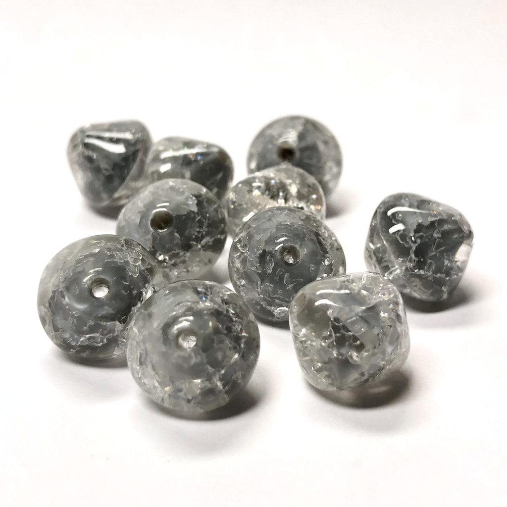 11MM Grey Crackle Glass Diamond Bead (24 pieces)