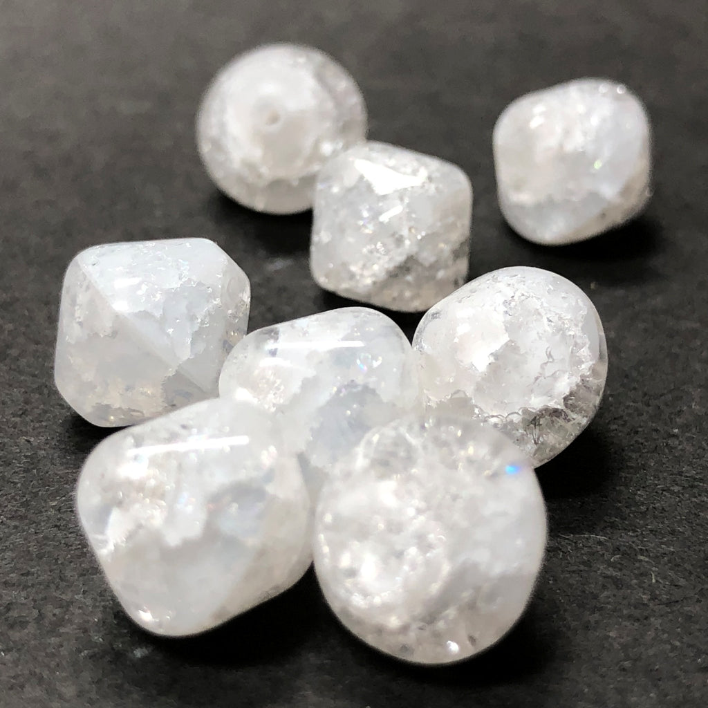 11MM White Crackle Glass Diamond Bead (24 pieces)