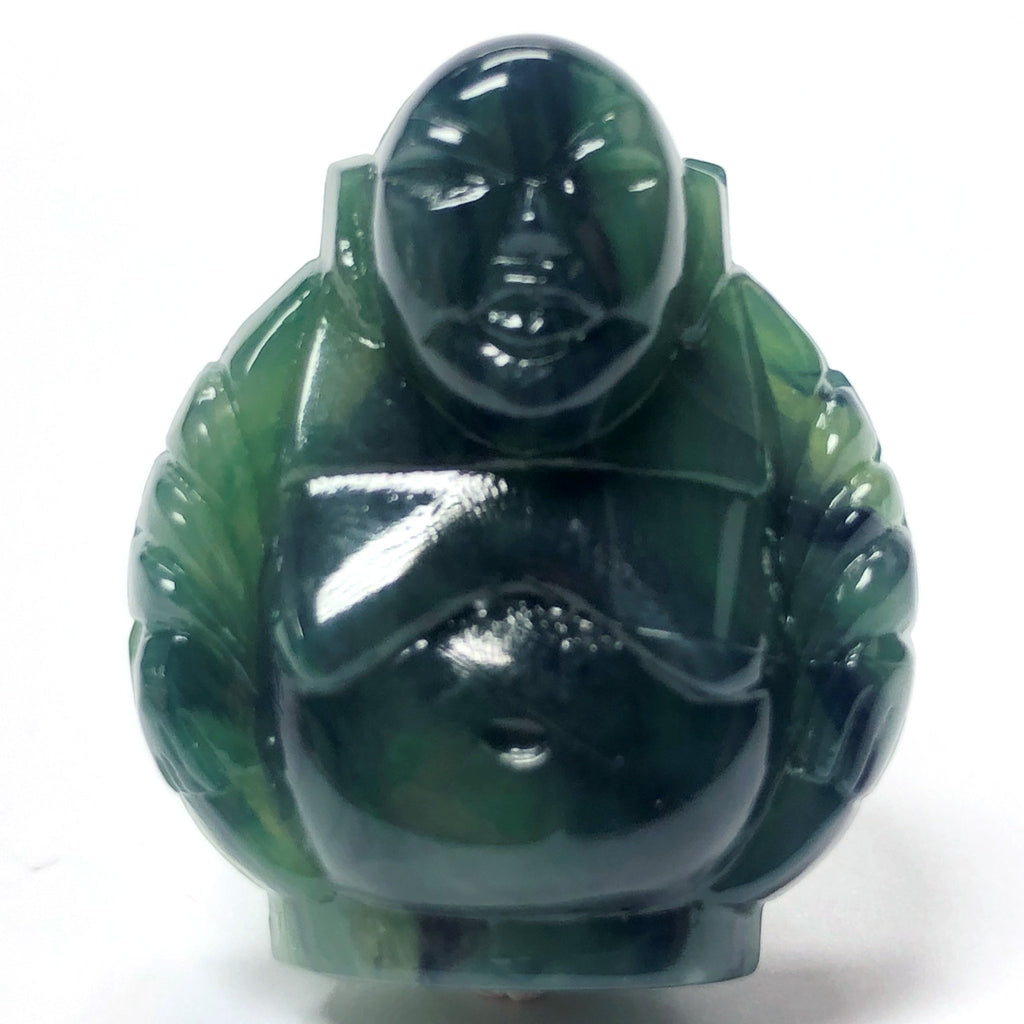 "29MM Dark Jade Green ""Stone"" Buddha Acrylic Bead (12 pieces)"
