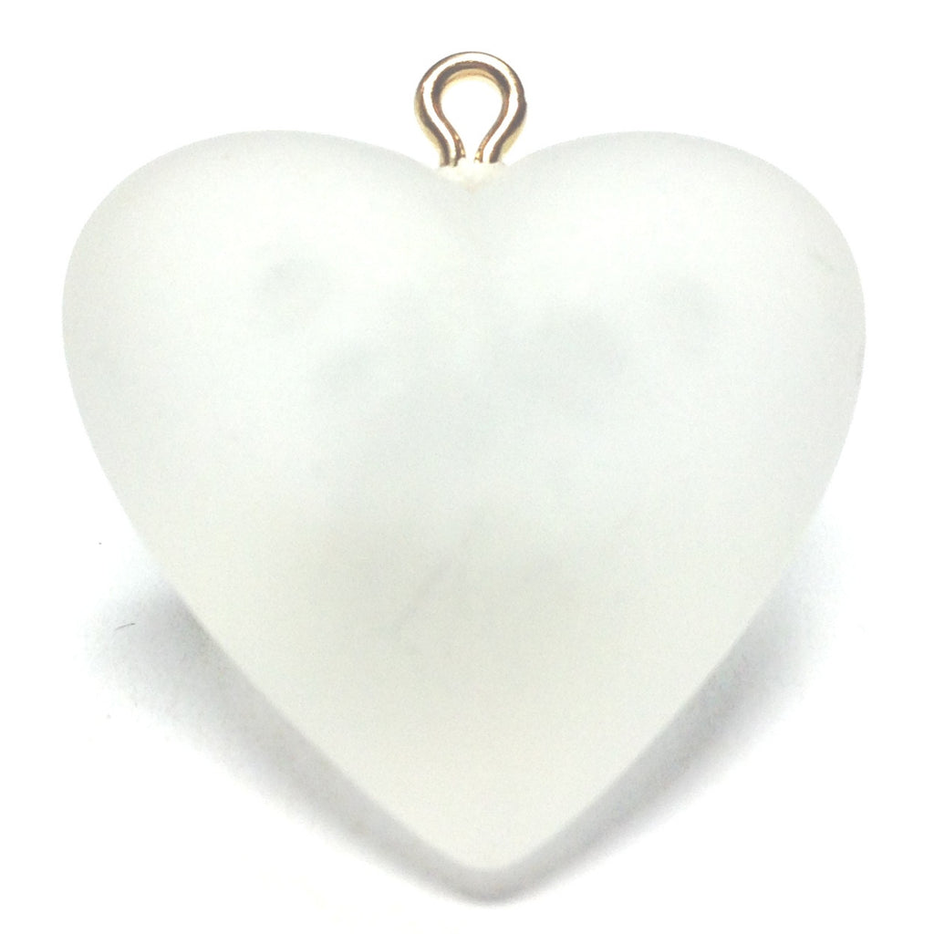 40MM Crystal Mat Heart Drop w/Loop (12 pieces)