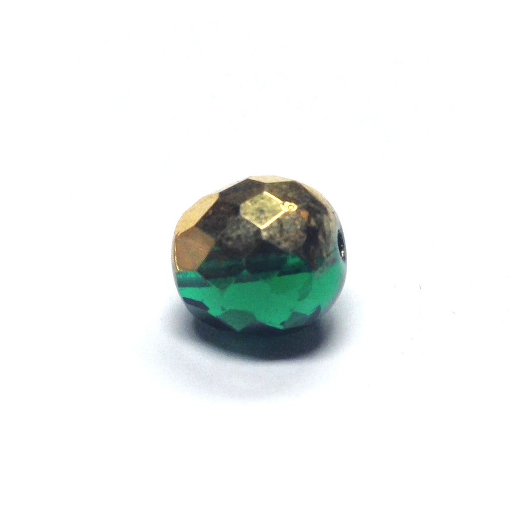 10MM Emerald Green/Gold Faceted Glass Bead (72 pieces)