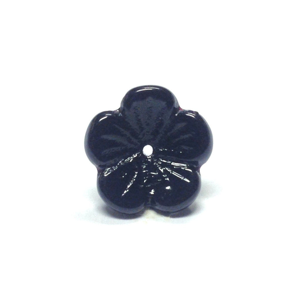 13MM Black Glass Flower Cap (100 pieces)