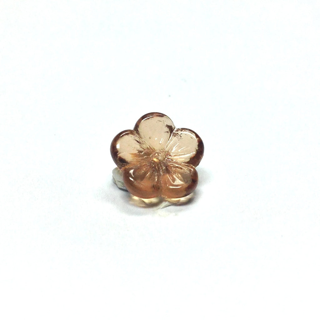 9MM Smoke Topaz Glass Flower Cap (144 pieces)