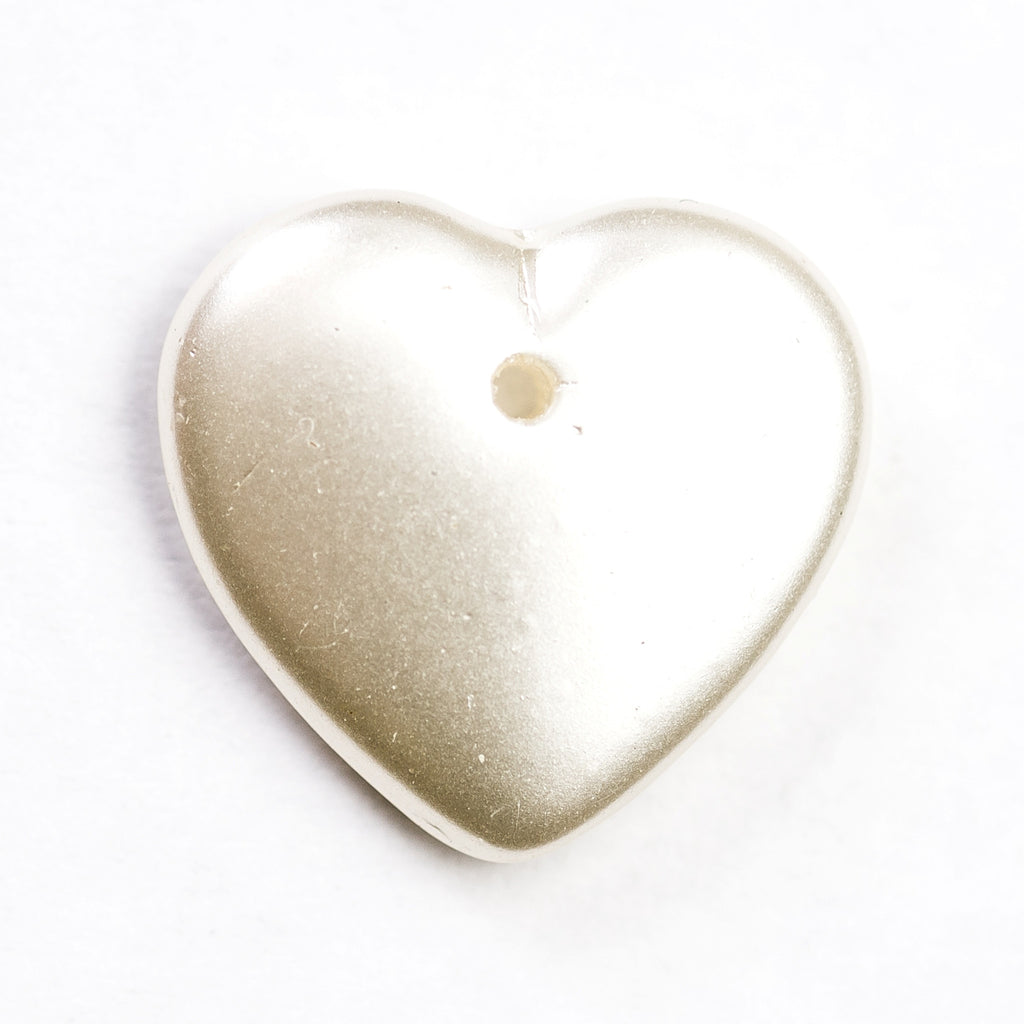 17MM White Pearl Glass Heart Drop (12 pieces)