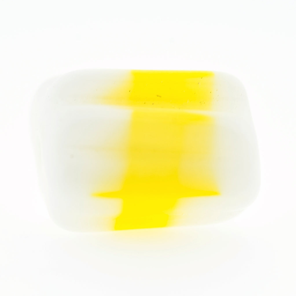 10X12MM Yellow/White Glass Ridged Tube Bead (36 pieces)