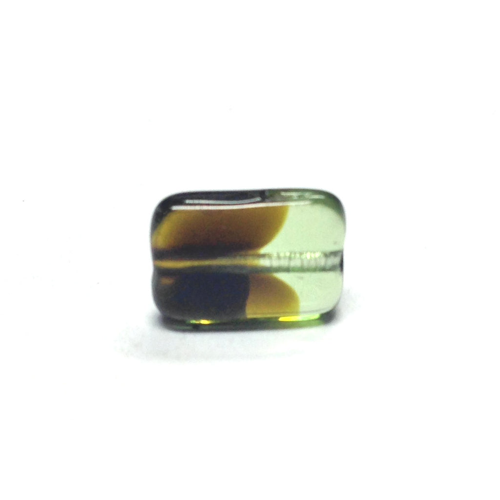 11X8MM Olive/Black Flat Rectangle Bead (72 pieces)