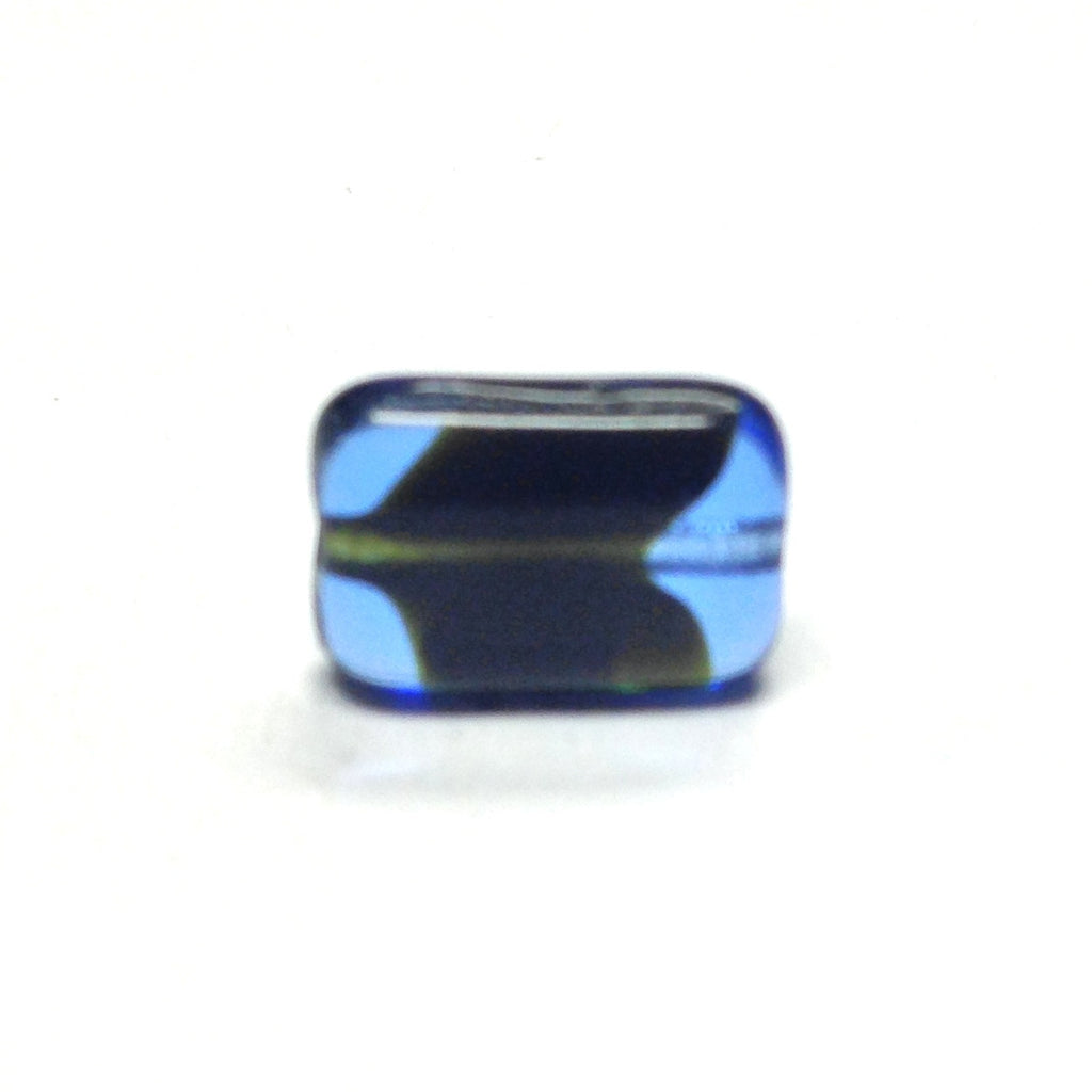 11X8MM Sapphire Blue /Black Flat Rectangle Bead (72 pieces)
