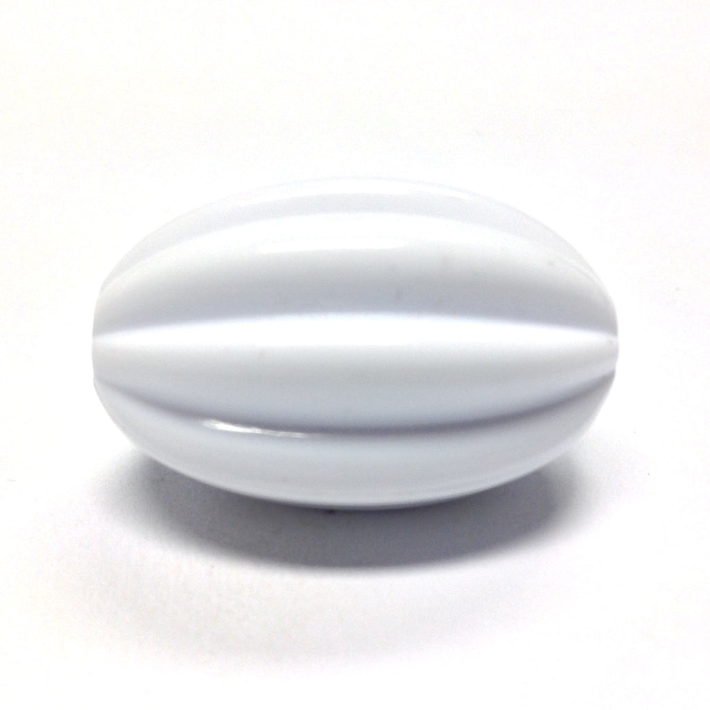 26X16MM White Fluted Oval Bead (24 pieces)