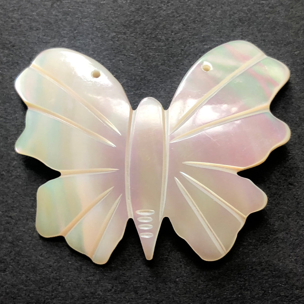 45X35MM Engraved Mother Of Pearl Butterfly Drop (3 pieces)