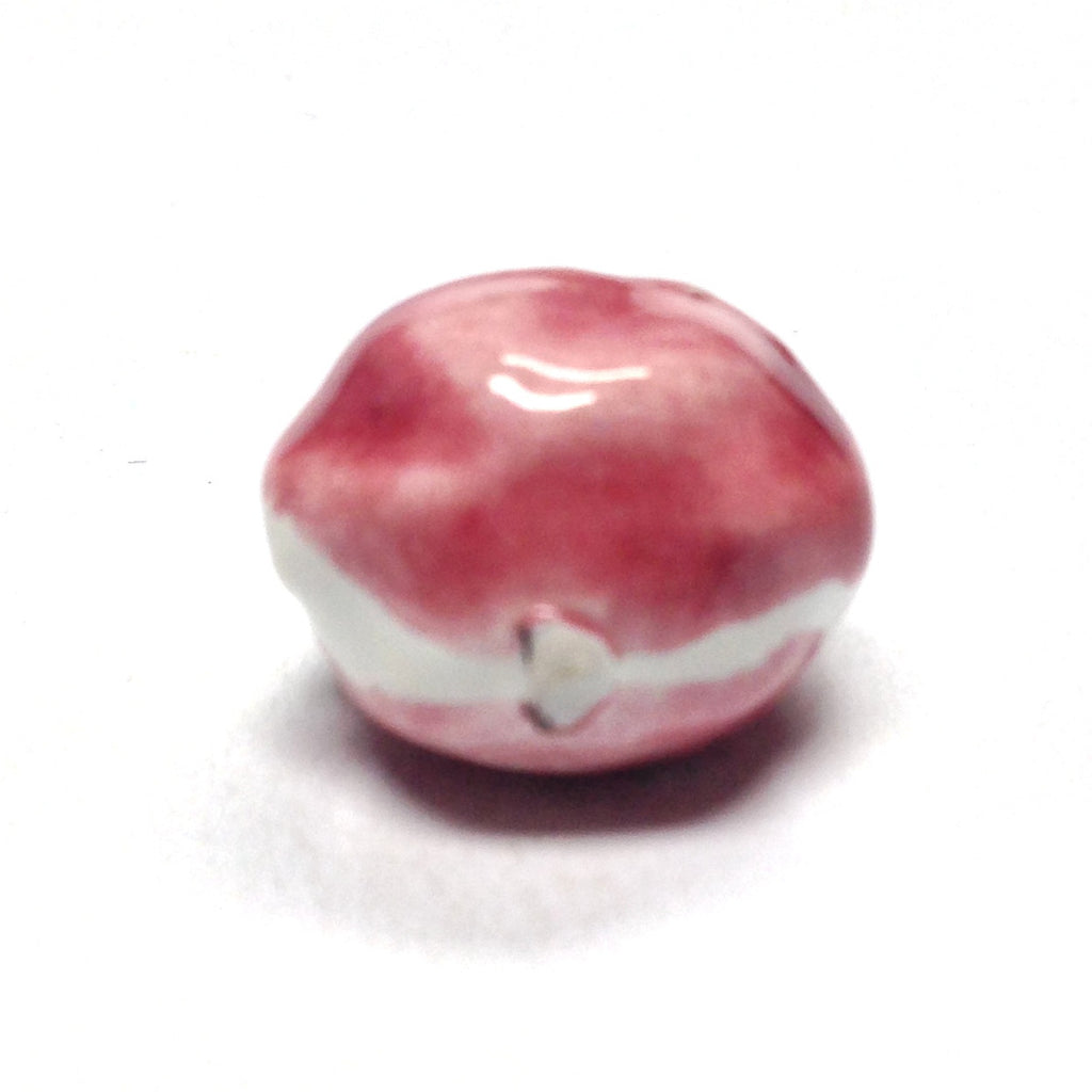 15MM Pink/White Ceramic Oval Bead (36 pieces)