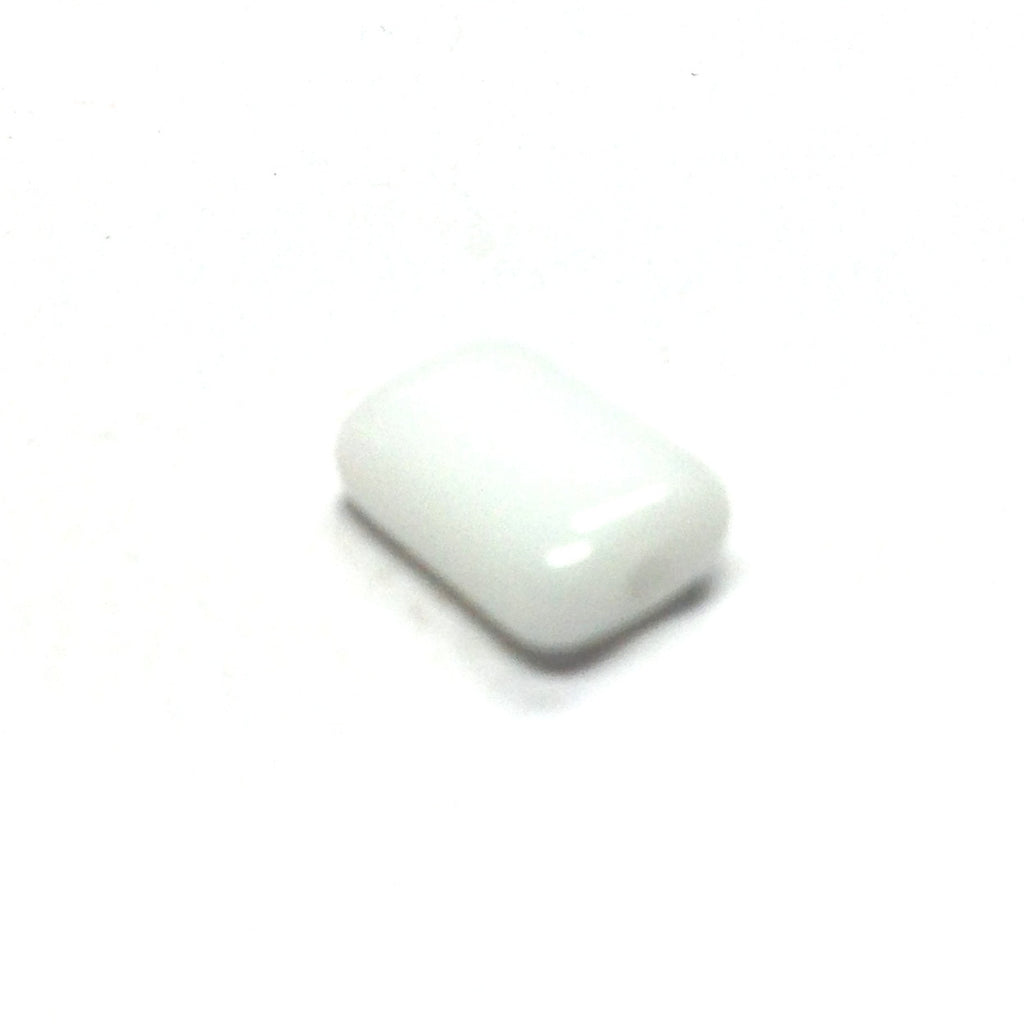 9X6.5MM White Glass Rectangle Bead (144 pieces)